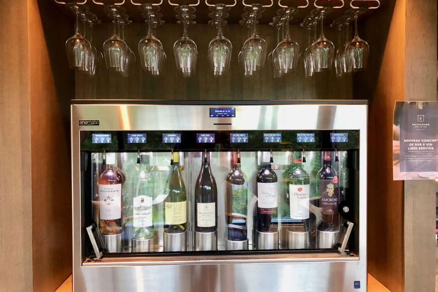 Wine time: Automatic wine machine in the lobby.