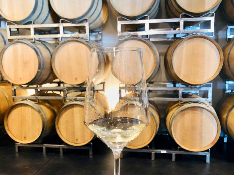 Wine tasting in the Barrel Room.