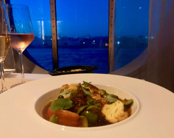 Moroccan Chicken Tangine and a wonderful glass of rose. Oh, and that ocean view. Hello good life. {Photo: Kerry Cushman}