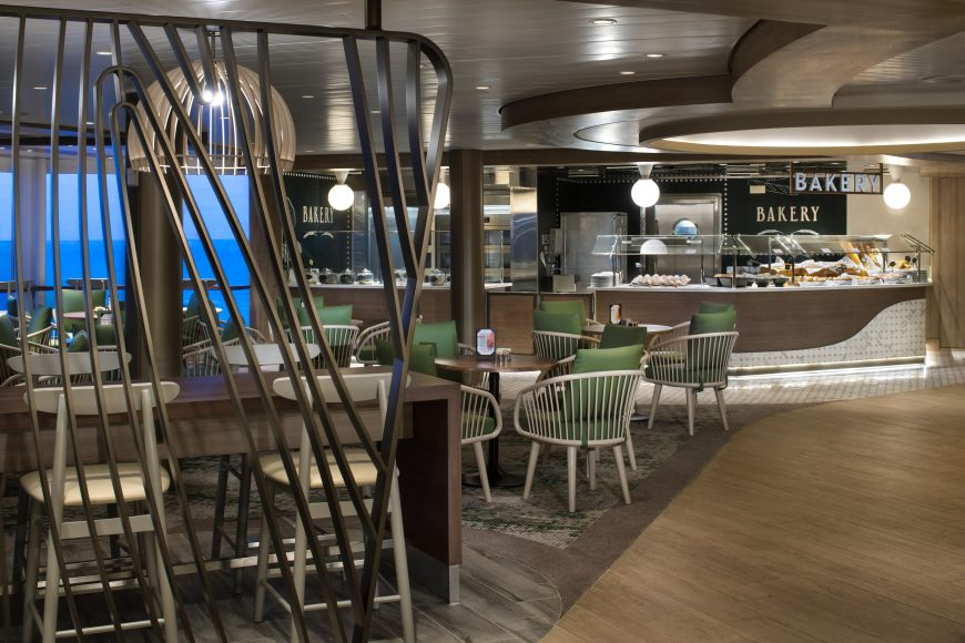 Fresh-baked bread and chef-prepared cuisine in the Oceanview Cafe. {Photo: Celebrity Cruises}