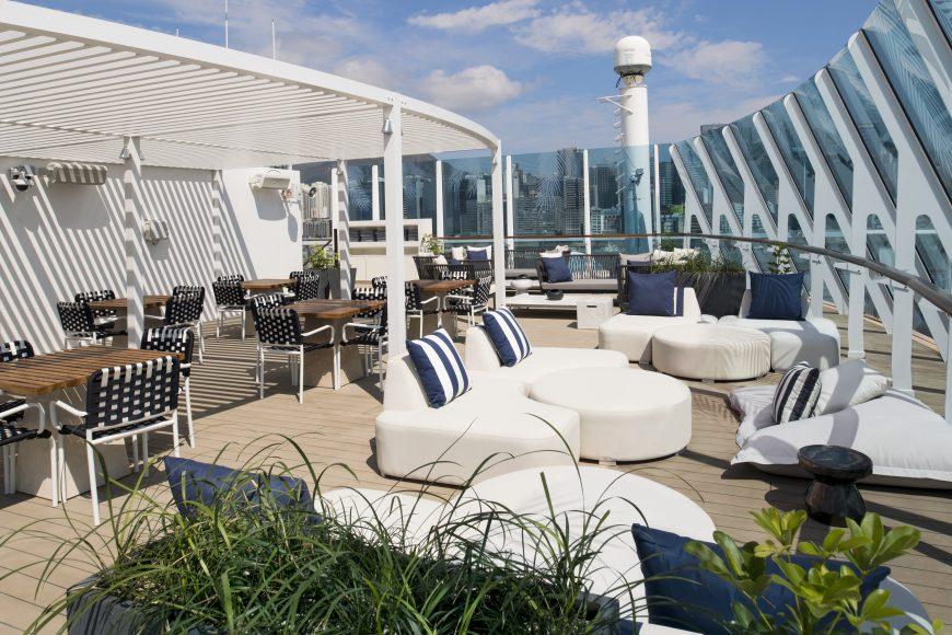 The chic new Retreat sundeck on Celebrity Summit. {Photo: Celebrity Cruises}