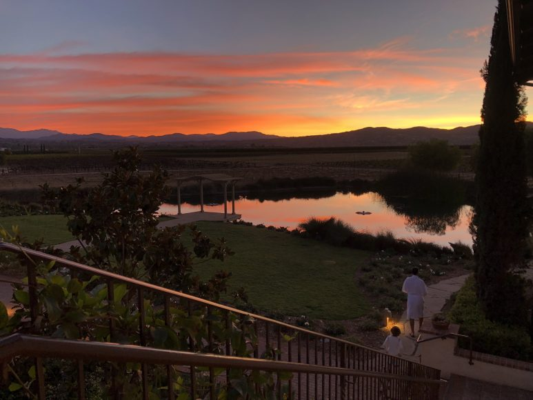 Early bird gets the view, spectacular sunrise over the vineyards and mountain vistas.
