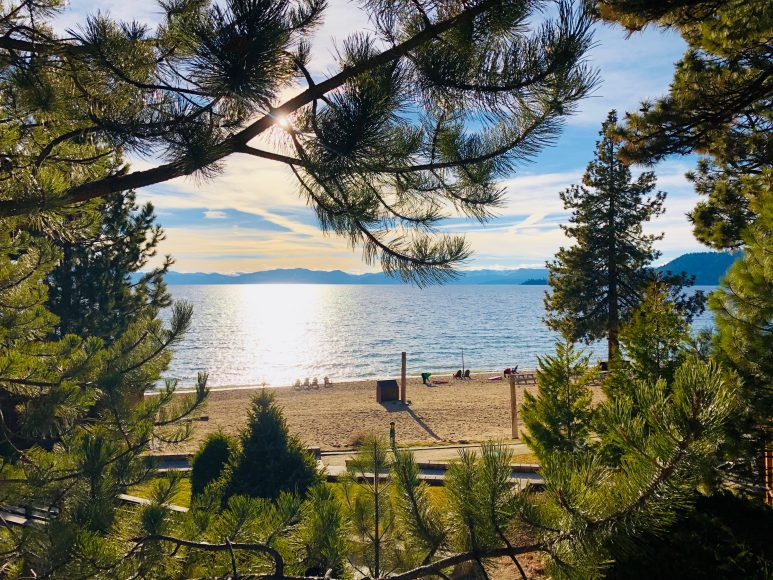 Beautiful Lake Tahoe from our lakeside cottage room.