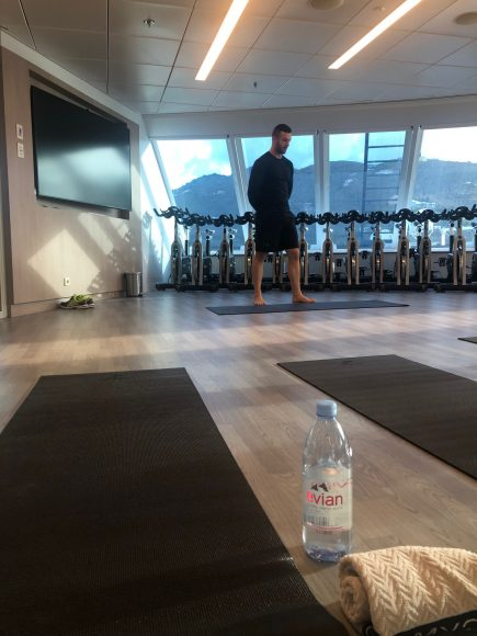 Workout with a view. Stay happy and healthy with onboard fitness classes and a state-of-the-art gym. {Photo: Kerry Cushman}
