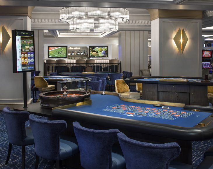 While the kids are at camp, hit up the sleek new Fortunes Casino. {Photo: Celebrity Cruises}