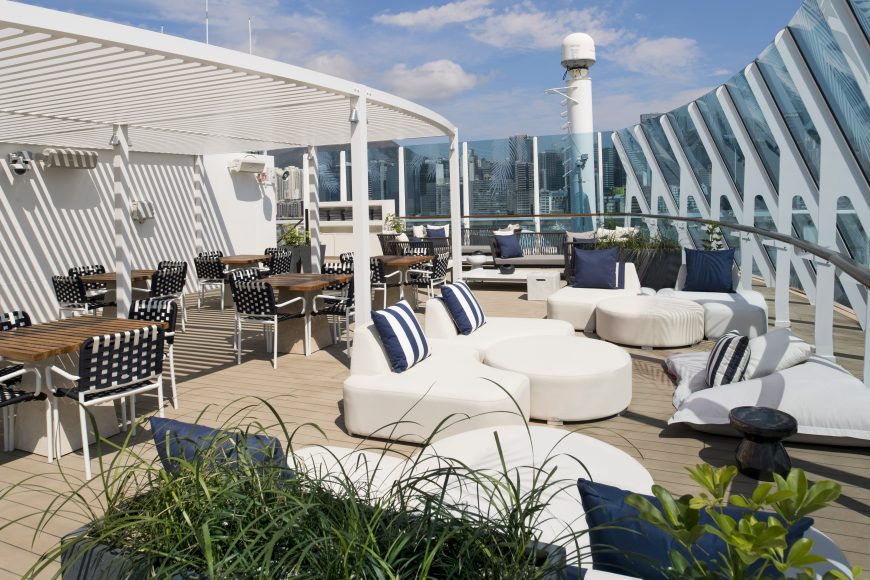 The chic new Retreat sundeck on Celebrity Summit. {Photo: Celebrity Cruises}